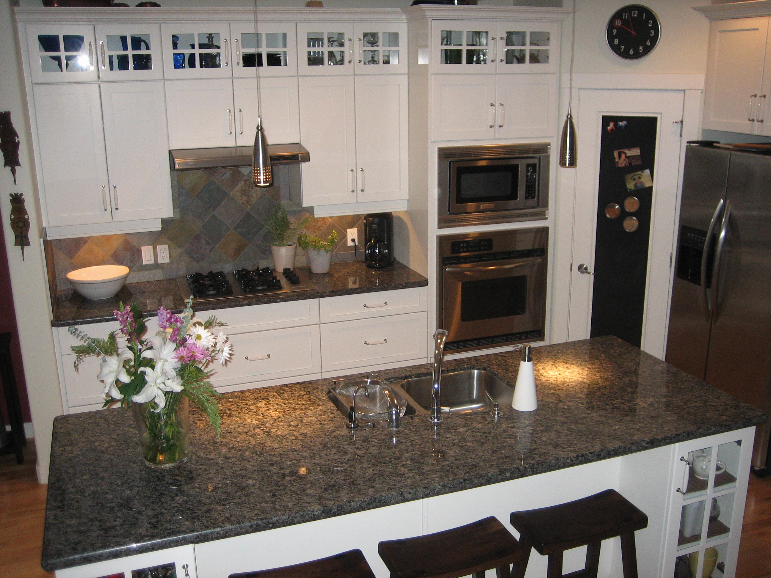 back splash changed from slate to white tile